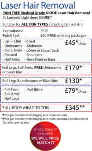 Laser Hair Removal in Leeds Prices