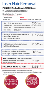 Laser Hair Removal Prices in Leeds