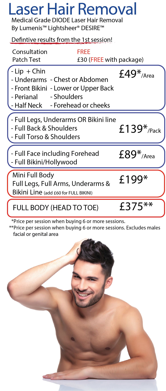 Laser Hair Removal Prices in Leeds, Wakefield, Dewsbury, Batley, Bradford, Halifax
